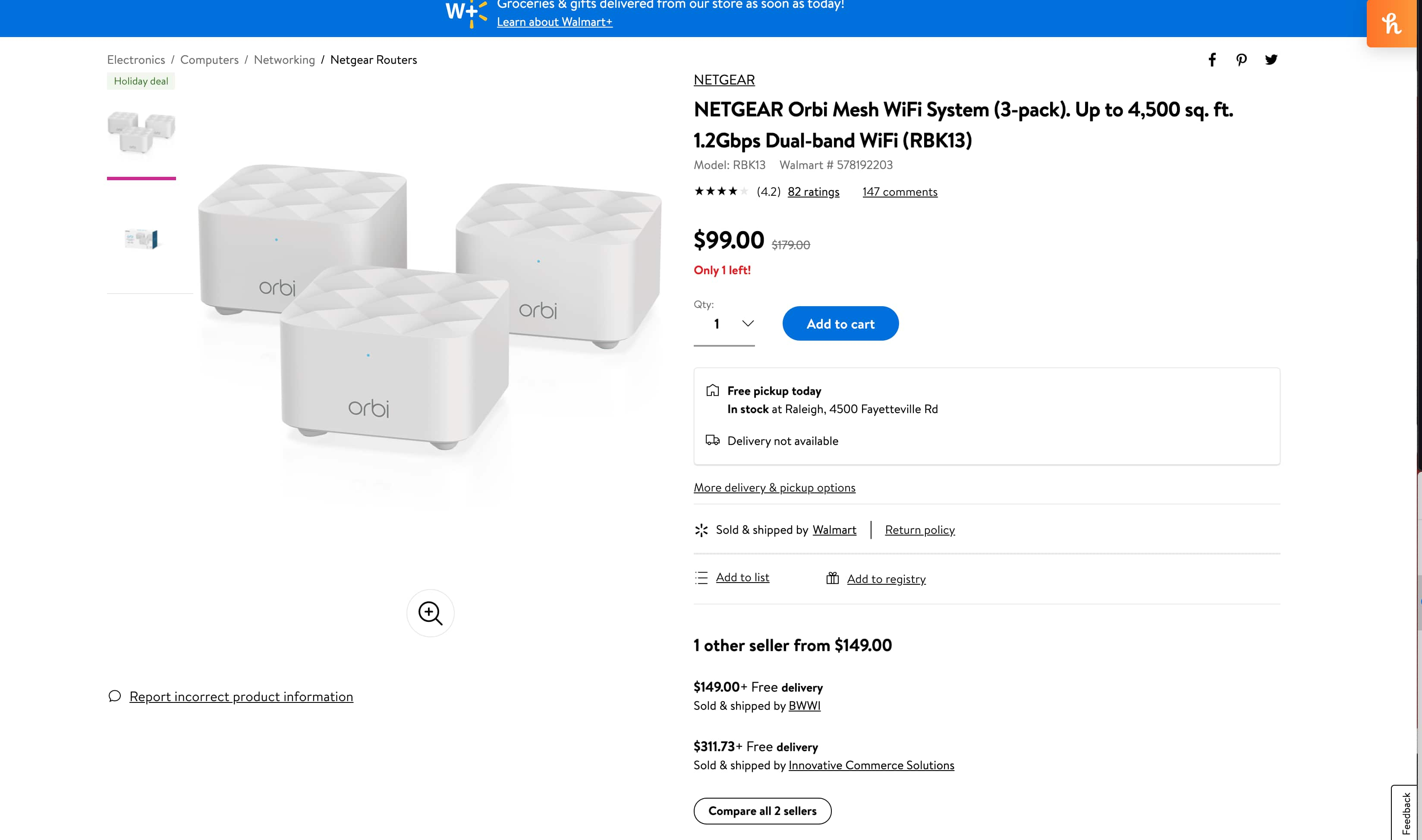 $99 NETGEAR Orbi Mesh WiFi System (3-pack). Up to 4,500 sq. ft. Available for in-store pick up for $99
