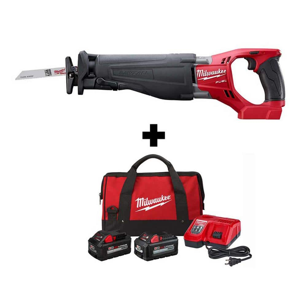 Milwaukee M18 FUEL 18V SAWZALL + XC 8.0 & 6.0Ah Battery + Charger - $299