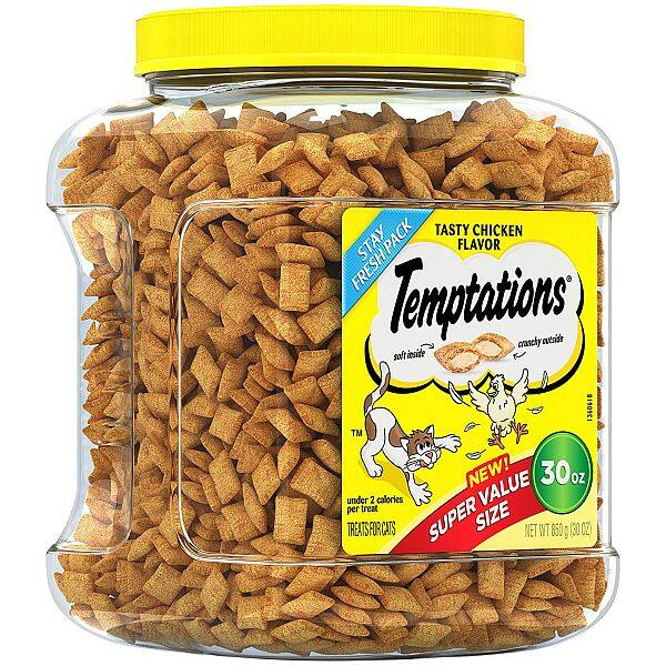 $7.26  TEMPTATIONS Classic Treats for Cats 30-ounce Tubs [Standard Packaging, Chicken]