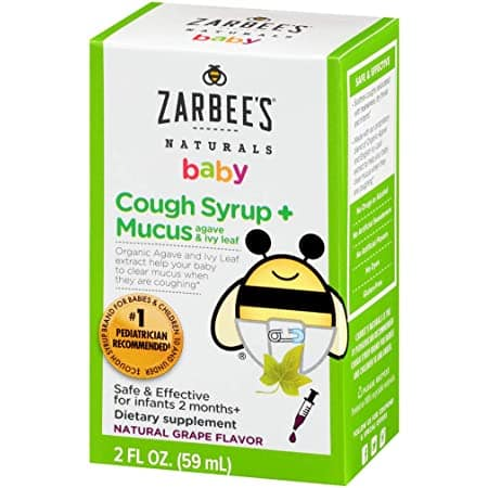 Zarbee Naturals Baby Cough Syrup + Mucus, Natural Grape Flavor