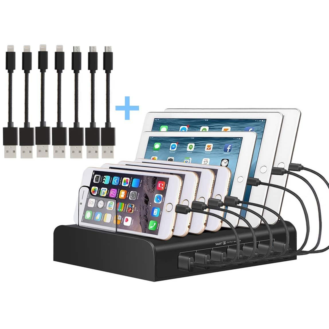 5 Port Multi USB Charger with CABLES for $22.1 @ Amazon