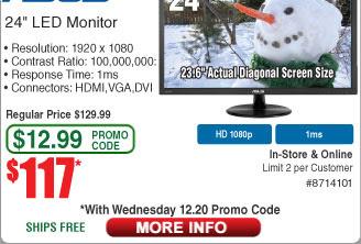 Gaming LED Monitor Asus 23.6, Full HD $117