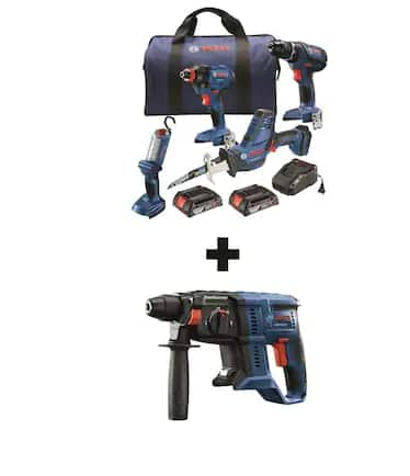 Bosch 5-Tool 18-Volt Power Tool Combo Kit with Soft Case (Charger Included and 2-Batteries Included) $229
