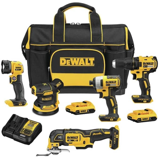 DEWALT 5-Tool 20-Volt Max Brushless Power Tool Combo Kit with Soft Case (Charger Included and 2-Batteries Included)