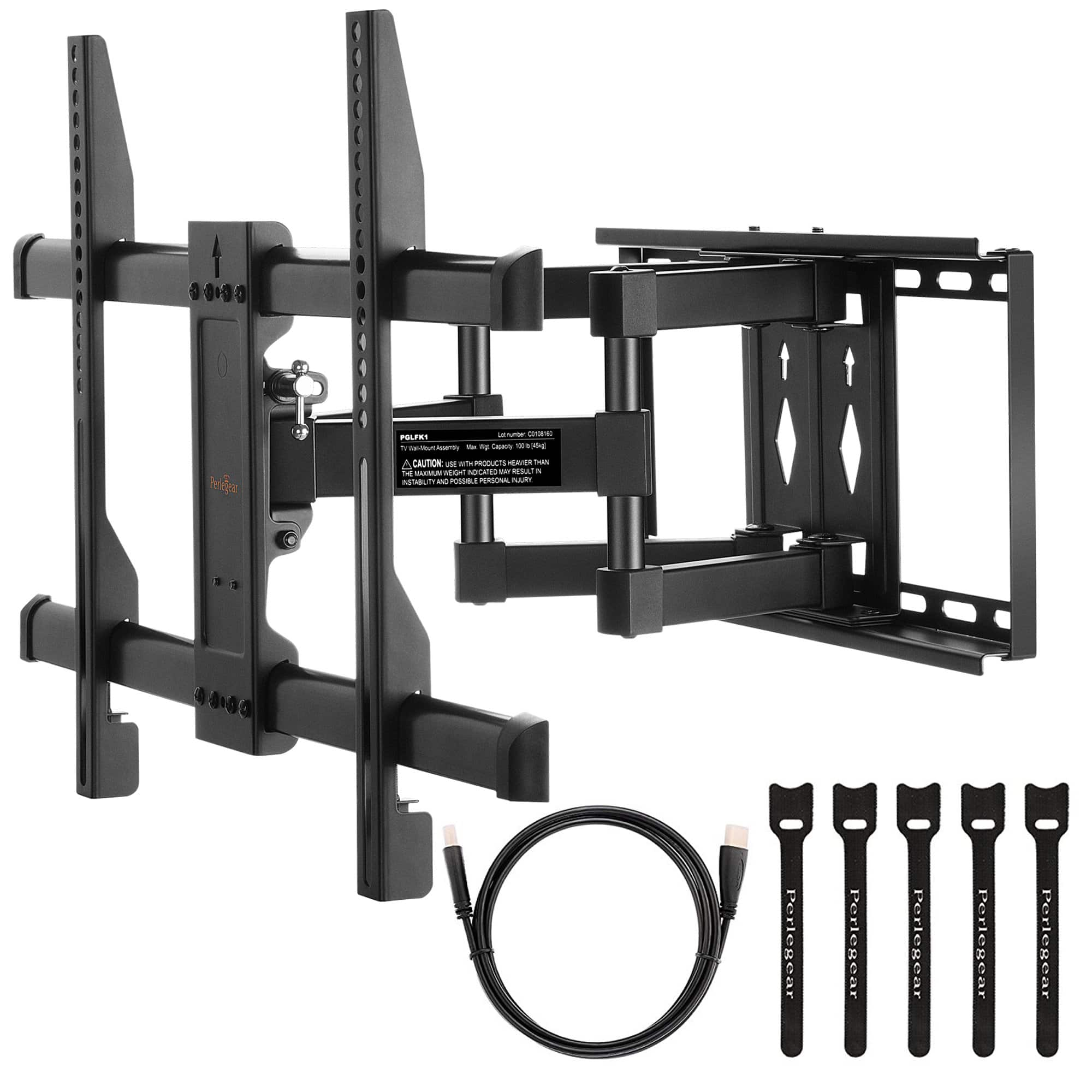 FREE! + $20 S&H PERLESMITH TV Wall Mount Bracket Full Motion Dual Articulating Arm for most 37-70 Inch up to 150LBS