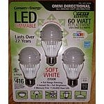 LED Bulb - 60W equ (9.5W) - $2.99 for three pack - Soft White - Dimmable - In store Only - Costco - Utility Subsidy - May be limited to areas of IL and WI - Price may vary