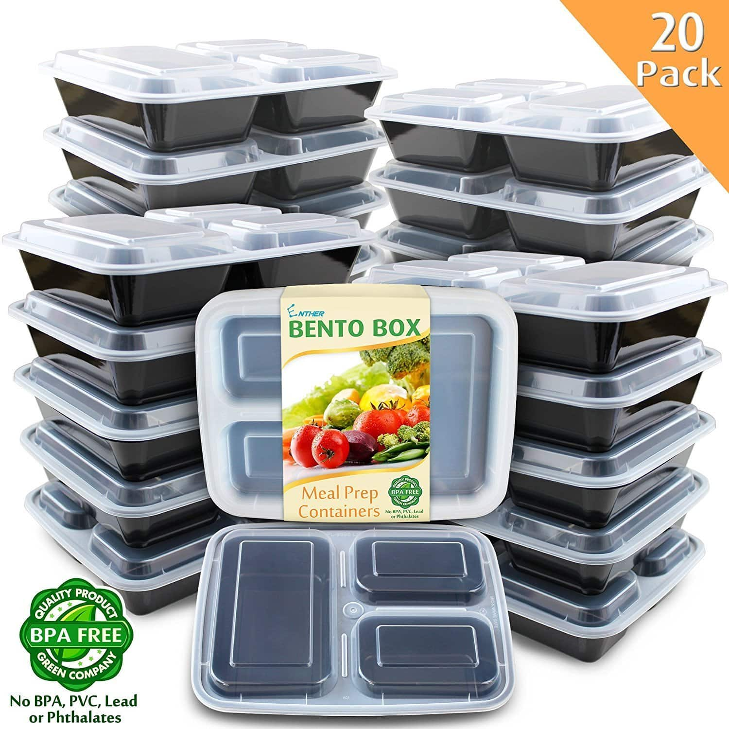20 pack BPA free food containers meal prepp containers $15.6 @Amazon