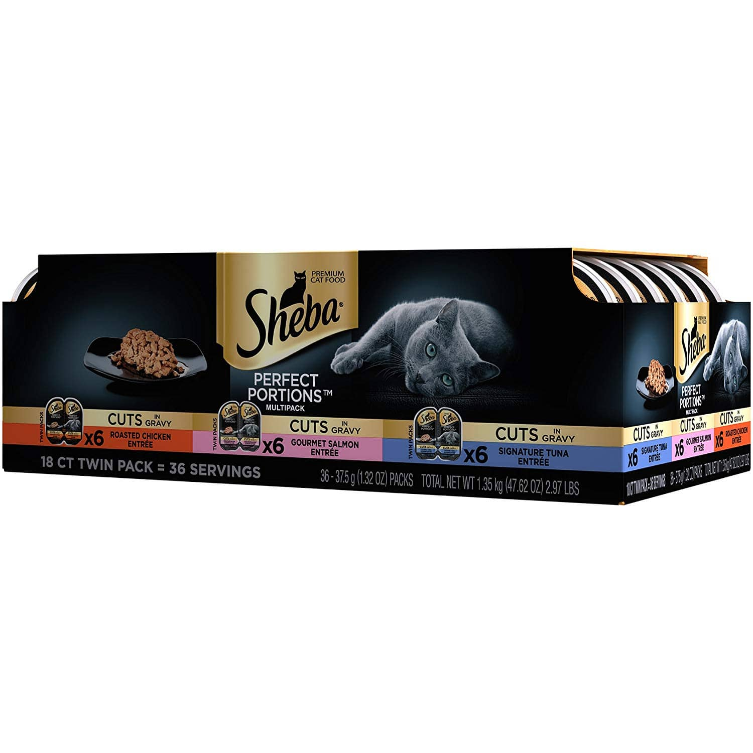 $14.40 FS Sheba Perfect Portions Cuts Cat Food 36ct - Contains (2) Multipacks Of (18) 2.6-Oz. Twin Packs 72 servings! - Flavor Name: Chicken, Tuna, Salmon ONLY