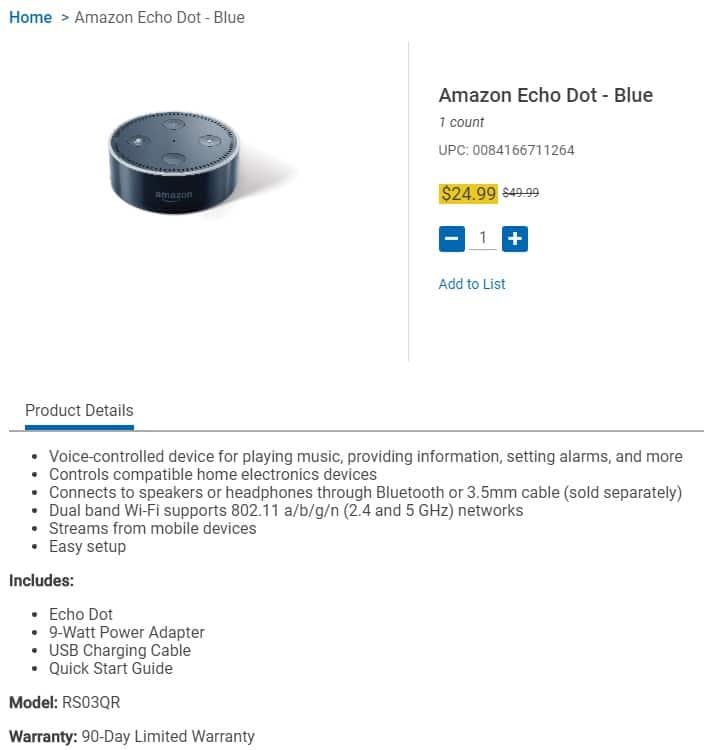 Kroger - Amazon Echo Dot - RS03QR for $25