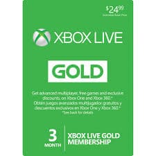 Xbox Live 3 Month Membership $24.99 w/ free $10.00 Gift Card (digital)