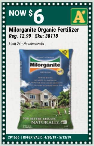 Milorganite $6 Alsip Nursery (Chicago area) 36lb