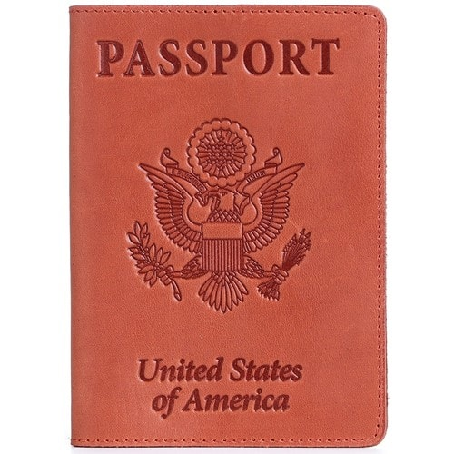 Shvigel Leather Passport Cover - Holder - for Men & Women - Passport Case [Red Vintage] $8 FS