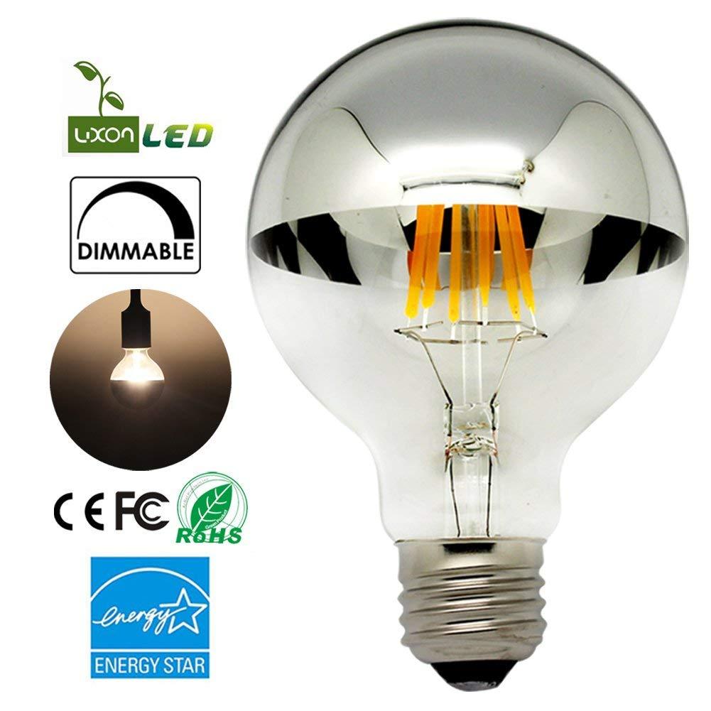 Half Chrome LED Light Bulb G80/G25 E26 Warm White 2700K $6.99