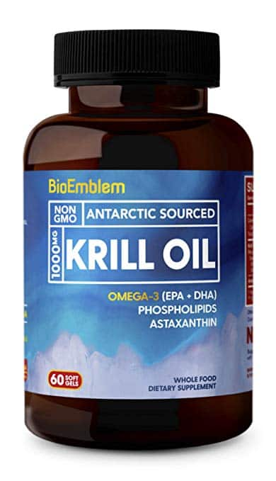 BioEmblem Antarctic Krill Oil Supplement | 1000mg | Omega-3 Oil with High Levels of EPA + DHA, Astaxanthin, and Phospholipids 60-Count Non-GMO Softgels $13.99