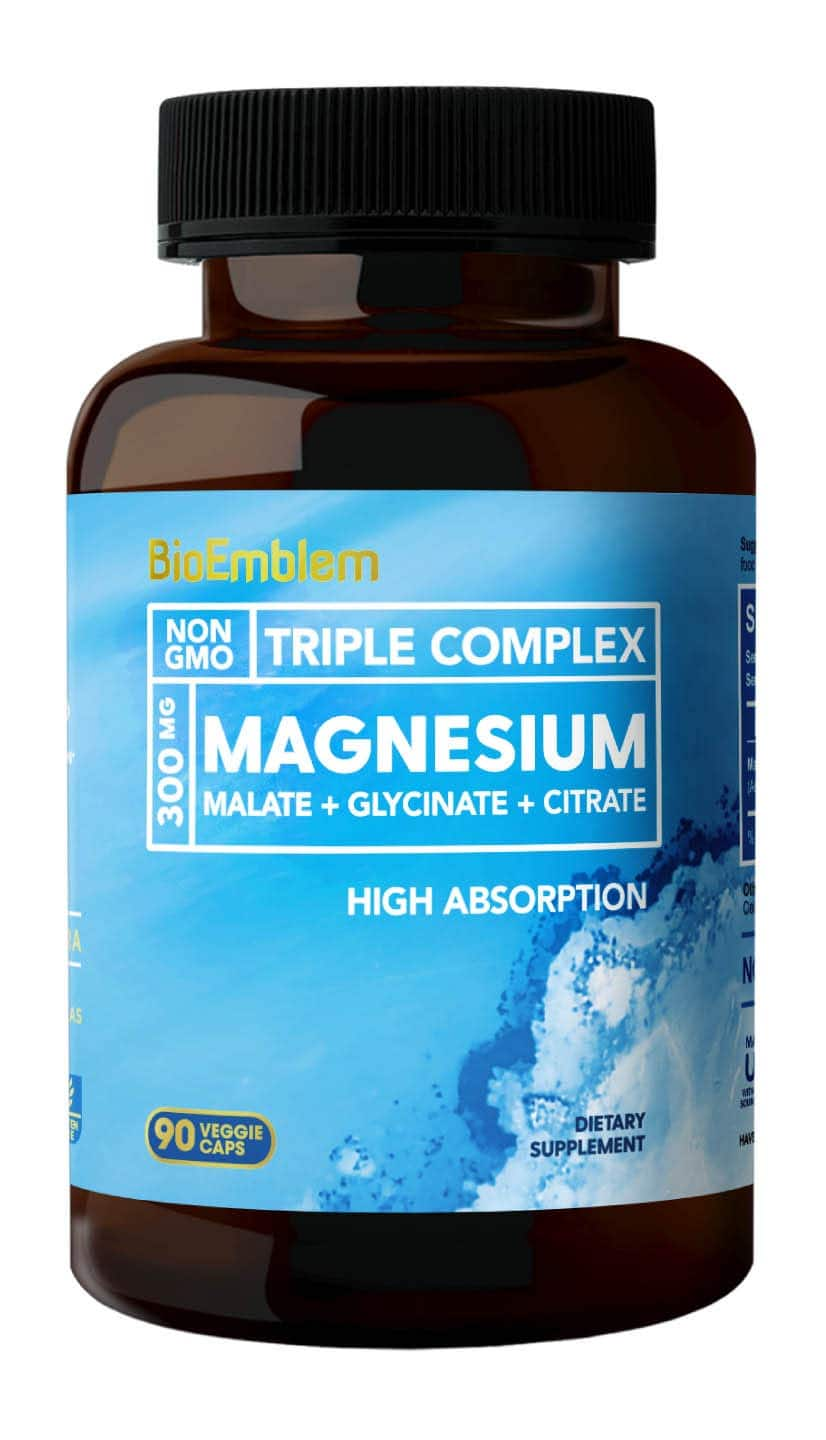 BioEmblem Triple Magnesium Complex | 300mg of Magnesium Glycinate, Malate, & Citrate for Muscle Relaxation, Sleep, Stress Relief, & Energy | Vegan, Non-GMO | 90 C $17.59