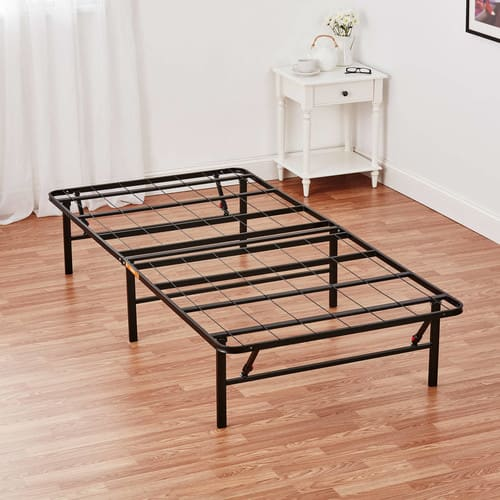 Best Mainstays High Profile Foldable Steel Bed Frame with Under Bed Storage