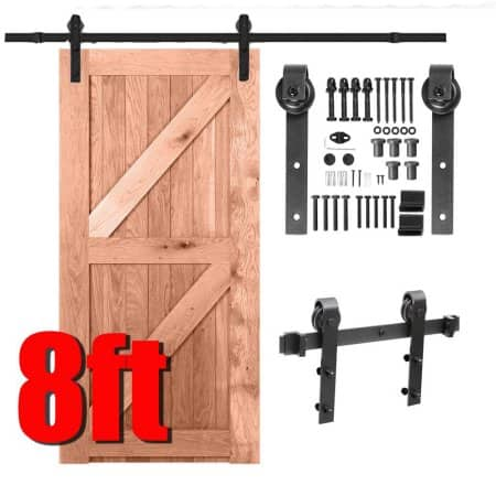 Yaheetech 8Ft Barn Door Sliding Hardware Track Set Kit Closet Indoor Black $53.99 @Walmart
