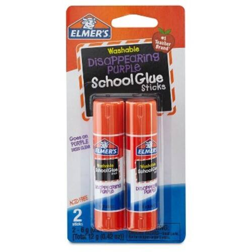 Elmer's Disappearing Purple School Glue Sticks, 0.21 oz, Pack of 2 (E522) $0.5 + Free Store Pick Up