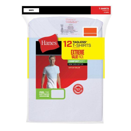 ec17cf04 12-Pack Men's Hanes FreshIQ ComfortBlend Tagless Crew T-Shirt (White ...