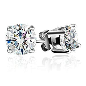 J.Rosée Jewelry 925 Sterling Silver Stud Earrings with 4 Sub-claw Mosaic 6MM for  $9.01 @ Amazon w/FS