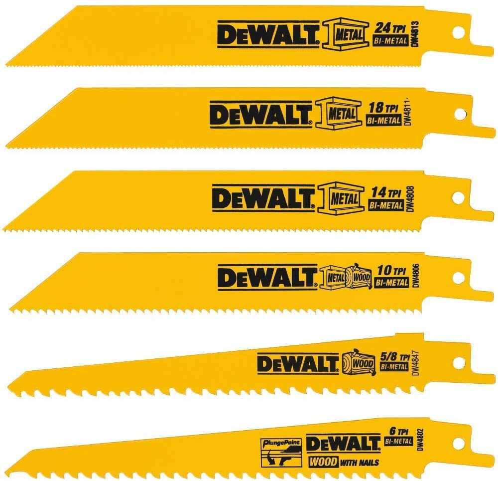 DEWALT Reciprocating Saw Blades, Metal/Wood Cutting Set, 6-Piece (DW4856) $9.98