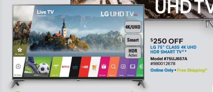 "Samsclub.com LG 75"" 4K UHD HDR Smart LED TV - 75UJ657A for $1498 w/ free shipping 11/11 @ midnight ET"