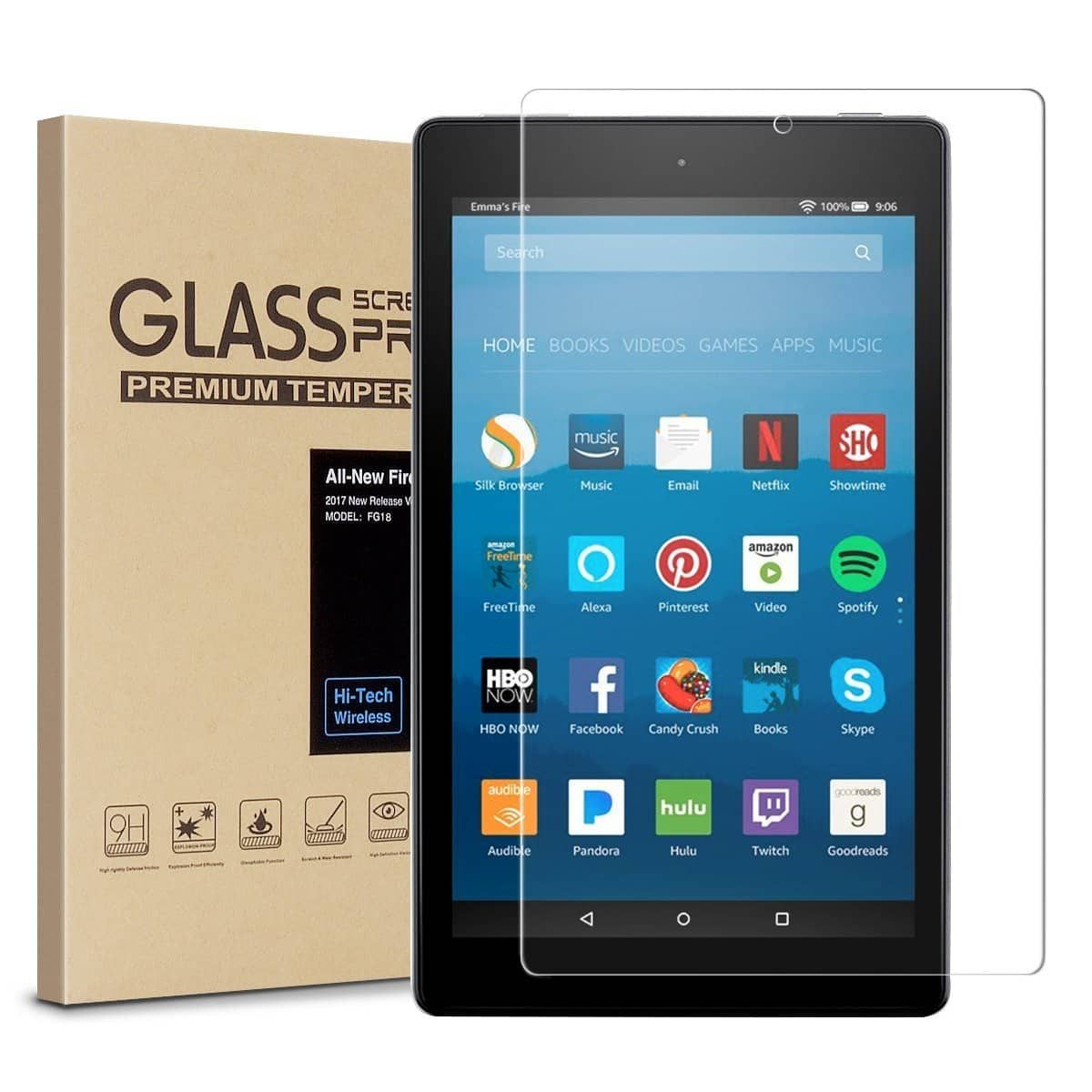 Amazon Fire HD 8 Screen Protector, Tempered Glass Screen Protector, 9H Hardness, Crystal Clear, Bubble Free, Anti-Glare $4.99
