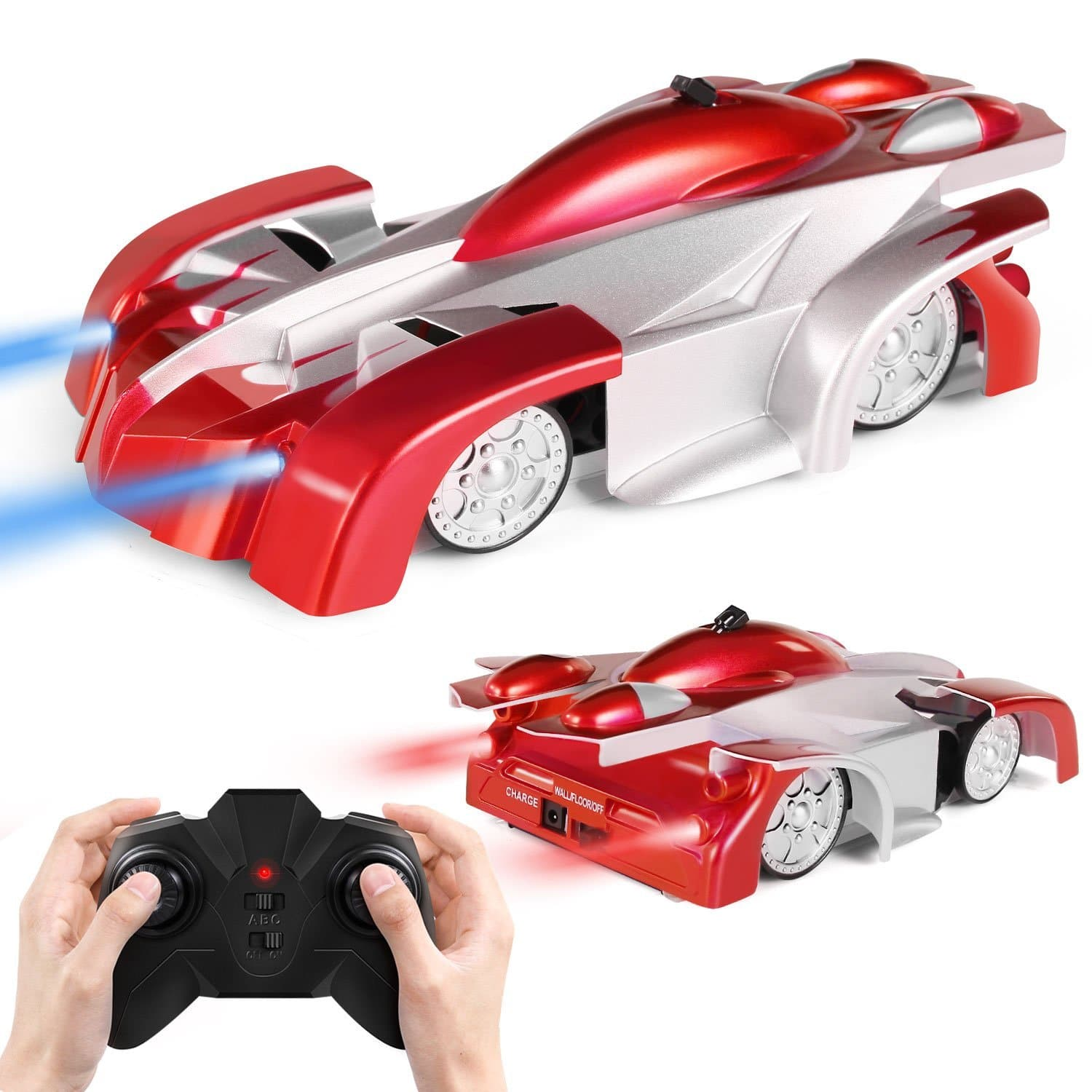 Rechargeable Remote Control Car Toy, Gravity Defying Wall climbing and 360° Rotating Stunt with Mini Control, LED Headlights and tailights $10.79