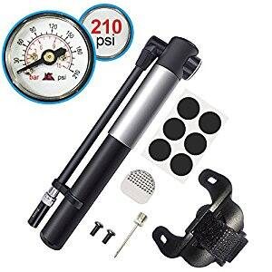 210 PSI Premium CNC Aluminum Mini Portable Air Bike Pump with Pressure Gauge $16.99w/code