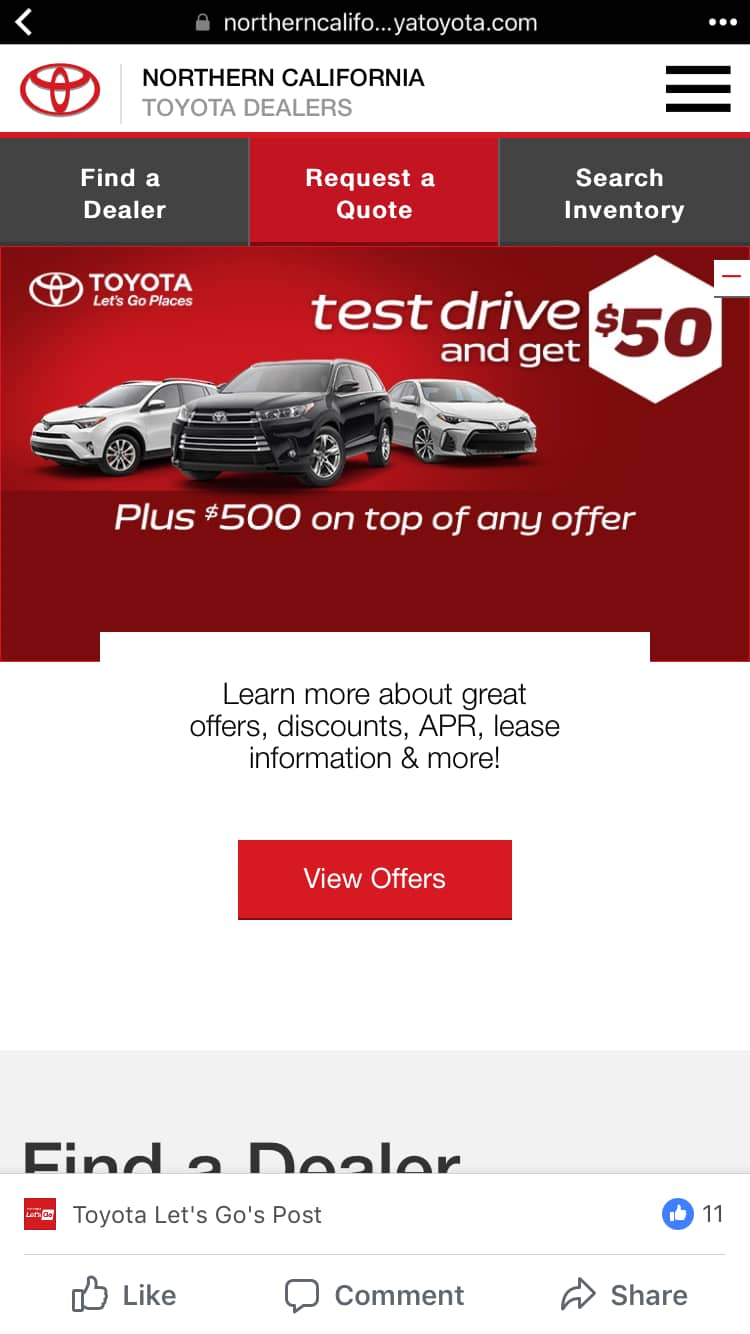 Test drive a Toyota and get $50 prepaid card (Northern California) YMMV
