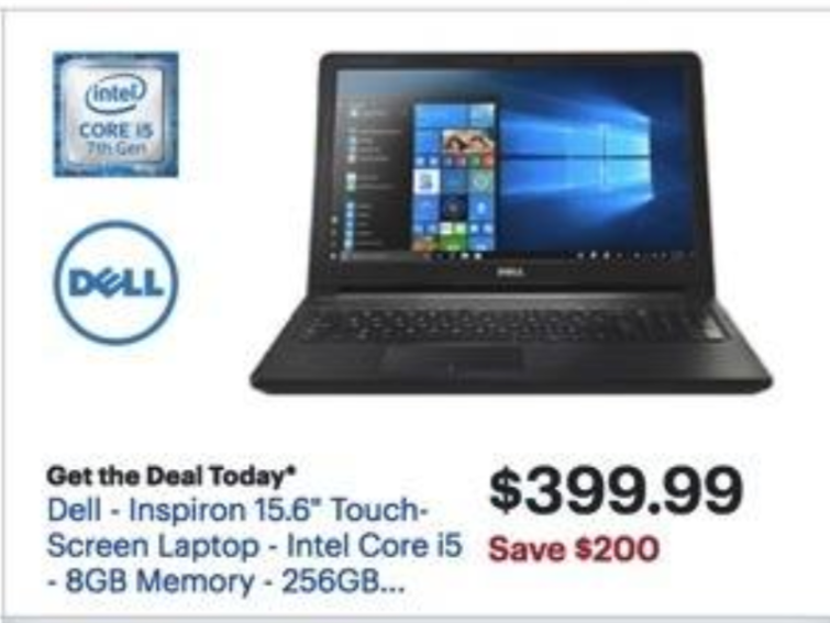 "Best Buy Black Friday: Dell Inspiron 15.6"" Touch-Screen Laptop Intel Core i5, 8GB RAM, 256GB SSD, Win 10 for $399.99"