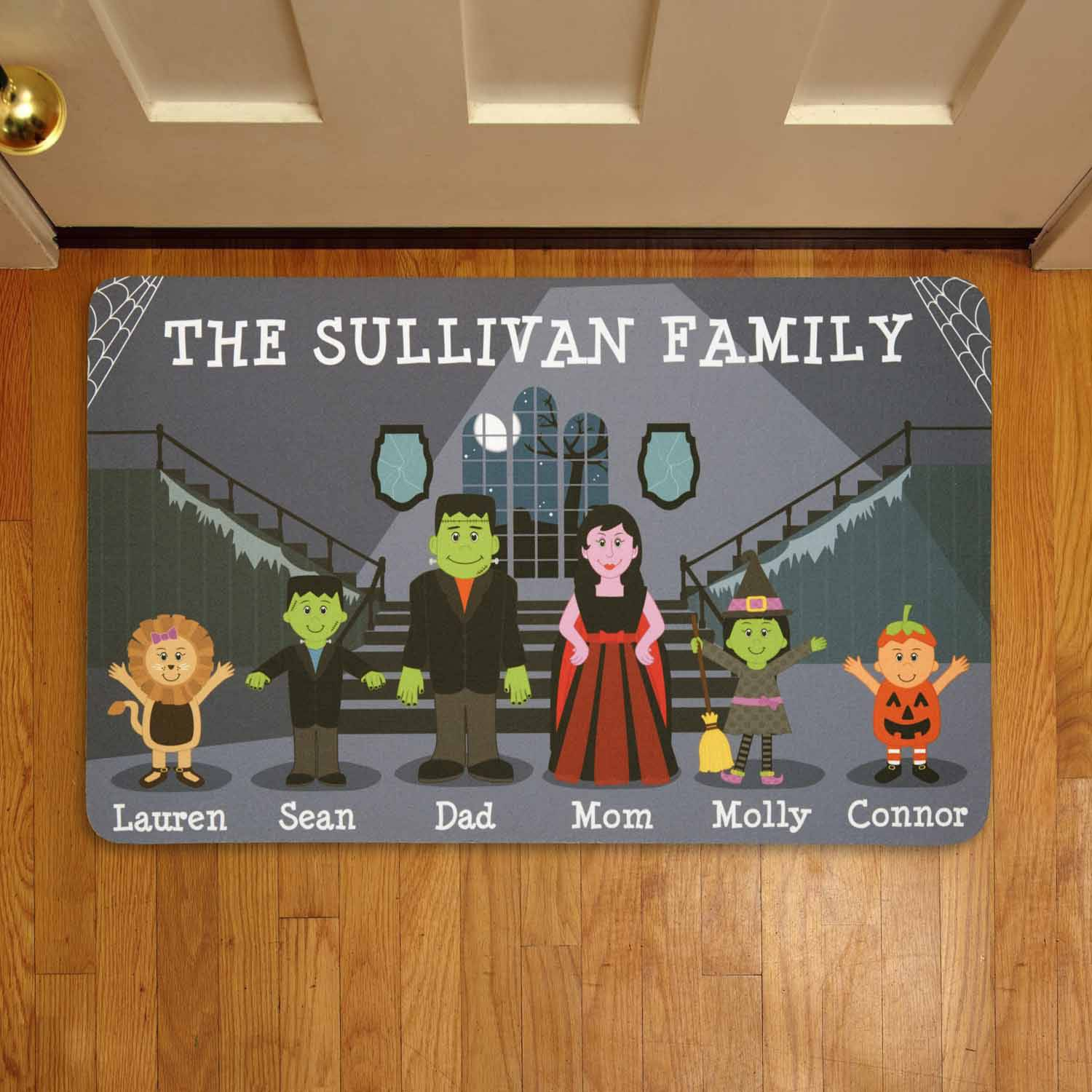 Personalized Spooky Family Halloween Doormat $11.95, Store Delivery Discount, Free Shipping