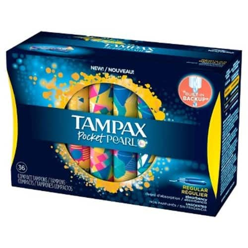 Tampax Pocket Pearl Regular Absorbency Unscented Compact Plastic Tampons - 36 Count $4.99@Amazon