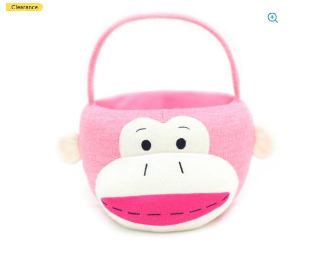 "Easter Wal-mart 10"" Sock Monkey Plush Basket $2.21@walmart"
