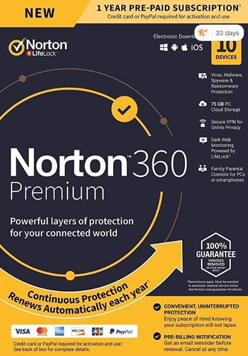 NEW Norton 360 Premium – Antivirus software for 10 Devices with Auto Renewal - Includes VPN, PC Cloud Backup and Dark Web Monitoring - 2020 Ready [Key card] $27.99