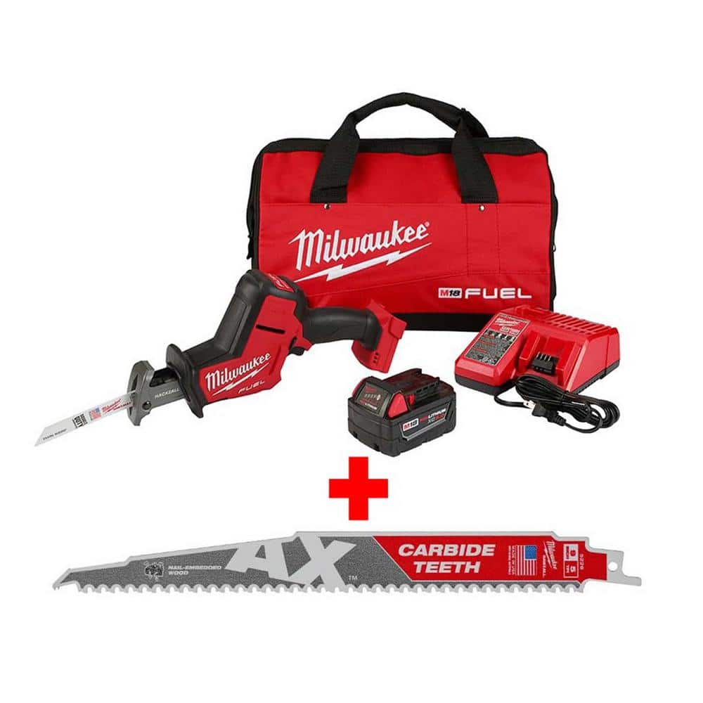 Milwaukee M18 FUEL 18-Volt Lithium-Ion Brushless Cordless HACKZALL Reciprocating Saw Kit with Carbide Teeth AX SAWZALL Blade $189.99