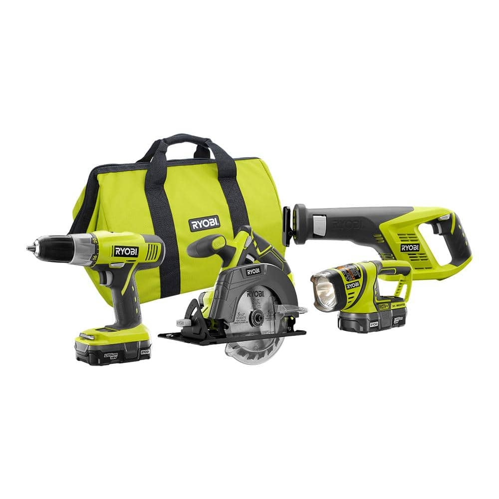 RYOBI 18-Volt ONE+ Lithium-Ion Cordless 4-Tool Super Combo Kit with (2) 1.3 Ah Batteries, 18-Volt Charger, and Tool Bag $88.63