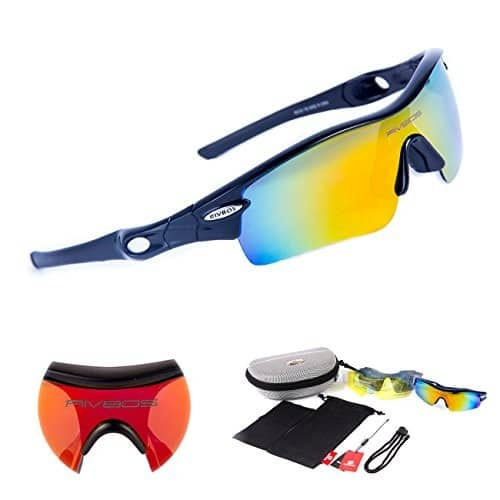 50% off RIVBOS® 805 POLARIZED Unisex Sports Sunglasses Glasses with 5 Interchangeable Lenses for Cycling Running $9.49