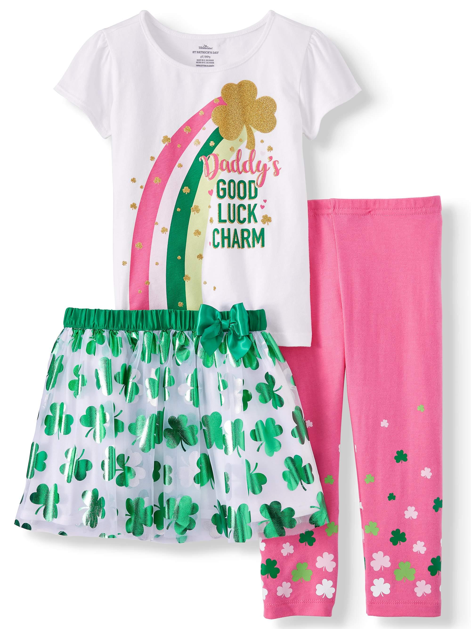 St. Patrick's Day Short Sleeve T-Shirt, Leggings & Tutu, 3pc Outfit Set (Toddler Girls) $5.5