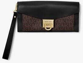 Manhattan Large Viola Leather and Logo Clutch $64.08