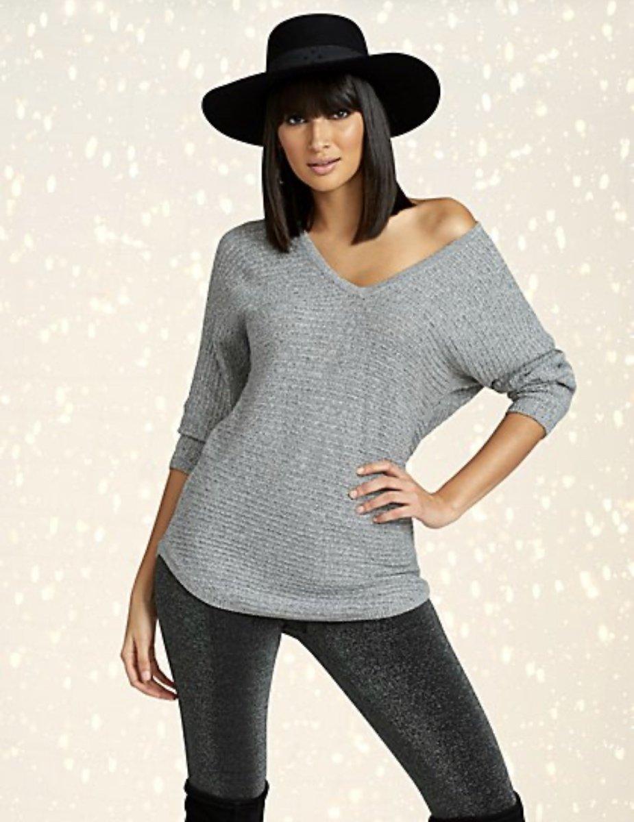 Marled V-Neck Dolman Tunic Sweater $9.99