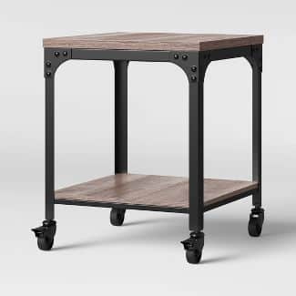 Jackman Industrial End Table with Wood Shelves and Metal Frame Gray - Threshold™ $57.6