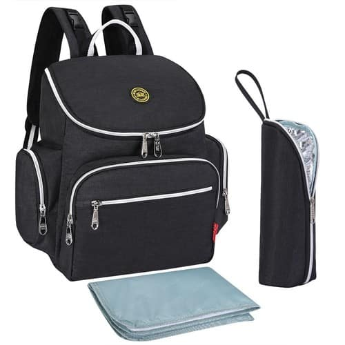 Multi-function Baby Diaper Bag Backpack with Changing Pad and Portable Insulated Pocket $19.99@amazon