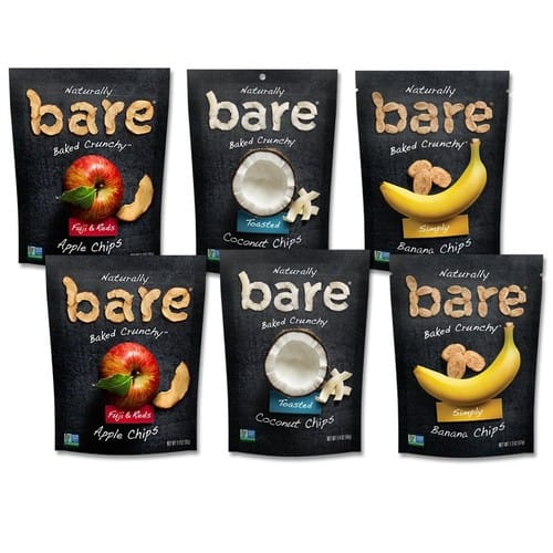Bare Natural Fruit Chips, Single Serve Apple/Banana/Coconut Variety Pack, Gluten Free + Baked, 1.4 Oz (6 Count) $14.09@amazon