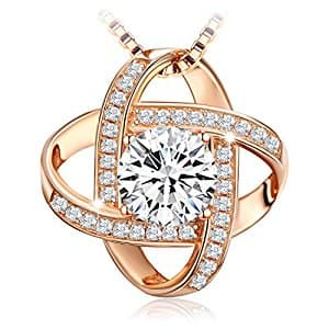 """Sterling Silver Pendant Necklace """"Never Ever Be Apart """" 5A zircon rose-gold tone for $19.51 @ Amazon"""