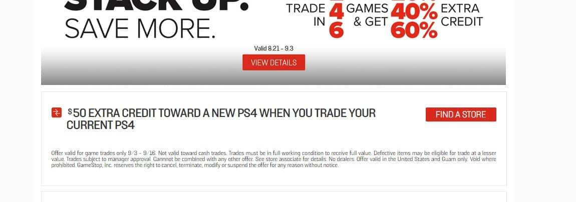 $50 Extra credit toward new PS4 when trading in old PS4 + $50 from other trade in promo