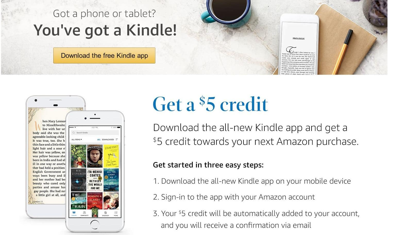 $5 Amazon Credit when download Kindle app on mobile device
