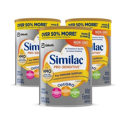 Live Again: Similac Pro-Sensitive Non-GMO Infant Formula Powder, 34.9 oz, 3 Count $70.12