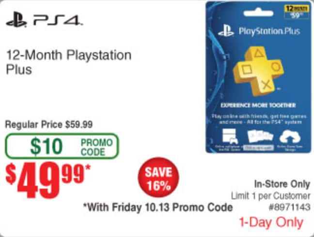 Fry's In-store Deal: 1-Year Sony PlayStation Plus Membership $49.99 (w/ Friday 10/13 emailed code)
