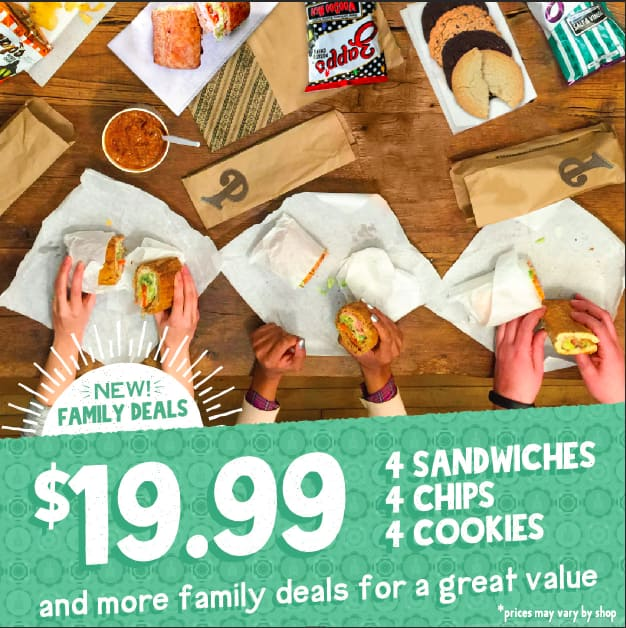 Potbelly Sandwich Shop : 4 Sandwiches, 4 Chips, 4 Cookies for 19.99 (6 Sandwiches 6 cookies, 6 chips 29.99)